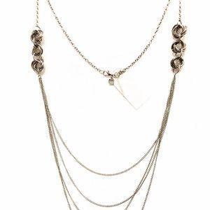 BANANA REPUBLIC long layered silver knot necklace